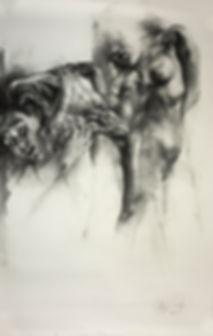 Araújo Santoyo | Dibujo | Con sigo misma | Carboncillo sobre retablo
