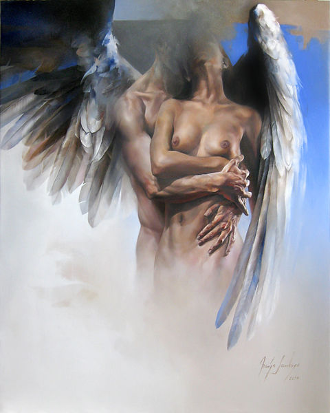 Abrazo de un ángel, óleo sobre lienzo, 150 x 100 cms.
