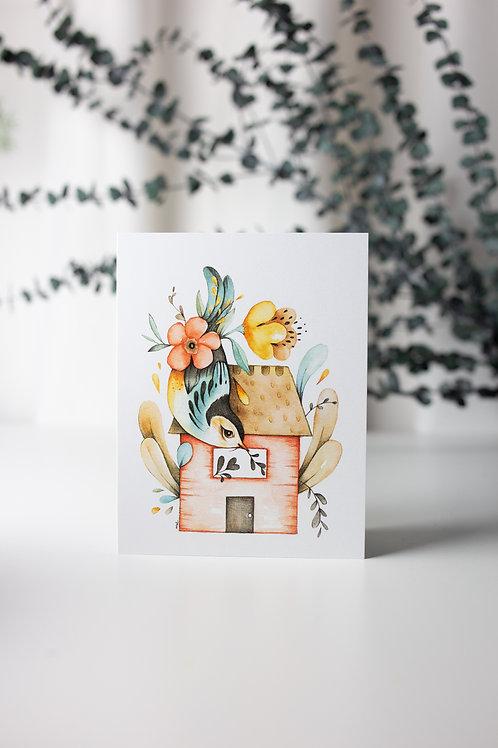 Maison oiseau + message - Carte