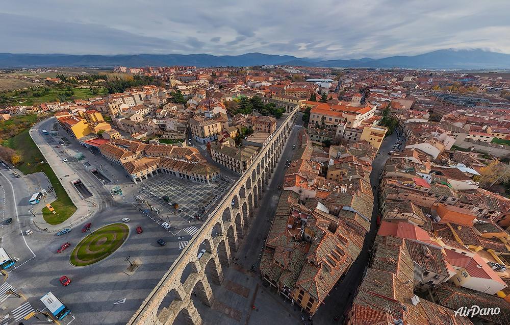 Aqueduct of Segovia. Photo credit: Airpano