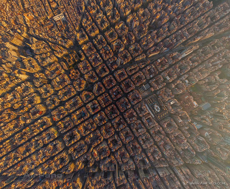 L'Eixample of Barcelona. Photo credit: Airpano