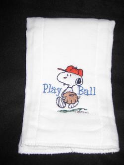 snoopy baseball burpcloth