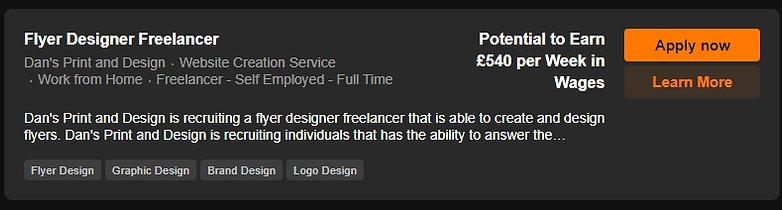 Flyer Designer Freelancer Vacancy Screen