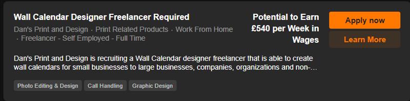 Wall Calendar Designer Freelancer Vacanc
