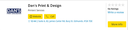 Yellow pages listing Dan's Print and Des