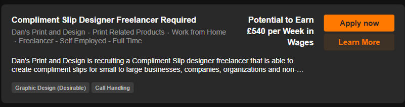 Compliment Slips Freelancer Vacancy