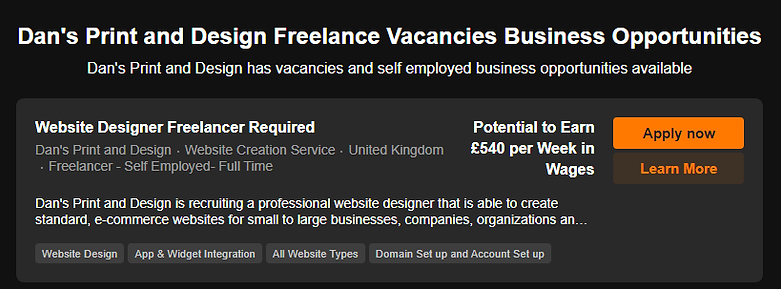 Website Designer Freelancer Vacancy Adve