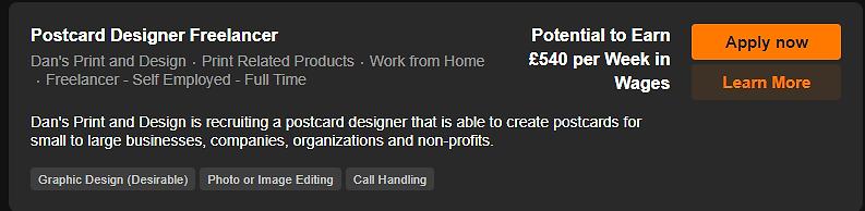 Postcard Designer Freelancer Vacancy Scr