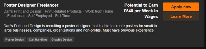 Poster Designer Freelancer Vacancy Scree