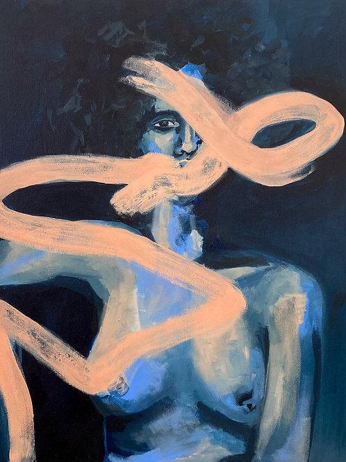 Blue lady print