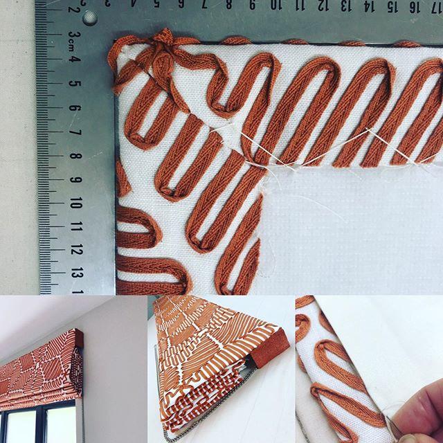 Lovely hand sewn roman blind in striking