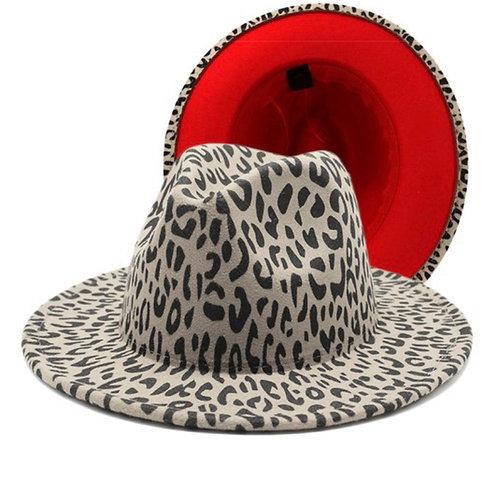 White Leopard Red Bottom Fedora