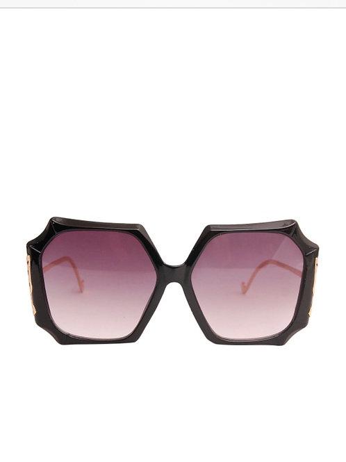 Black Retro Oversized Square Butterfly Sunglasses