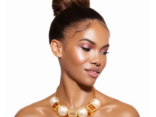 Classy Gold Cube and Pearl Necklace