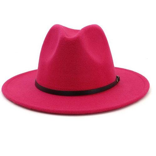 Hot Pink Retro  Flat Brim Panama Wool Felt Jazz Fedora Hat
