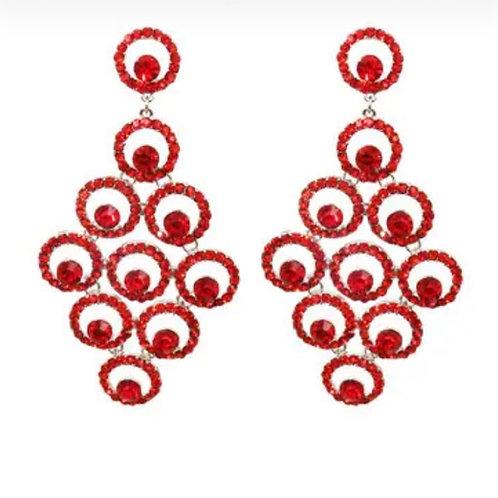 Ruby Red Round Drop Earrings