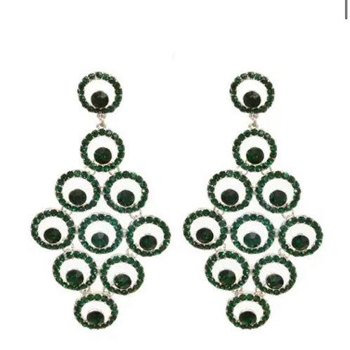 Emerald Green Round Drop Earrings