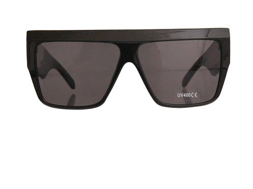 Black 70's Style Square Wide Sunglasses