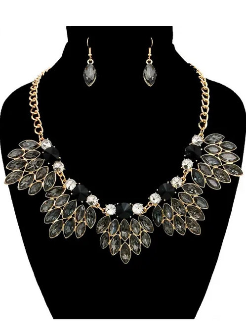 Marquise Hematite Crystal Cluster Necklace Set