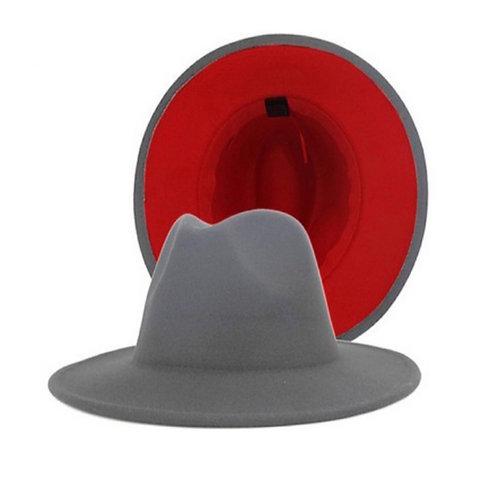 Light Grey Red Bottom Fedora