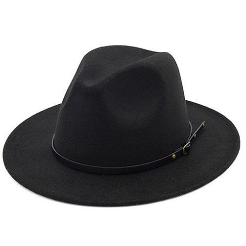 Black Retro  Flat Brim Panama Wool Felt Jazz Fedora Hat