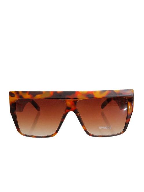 Tortoiseshell 70's Style Square Wide Sunglasses