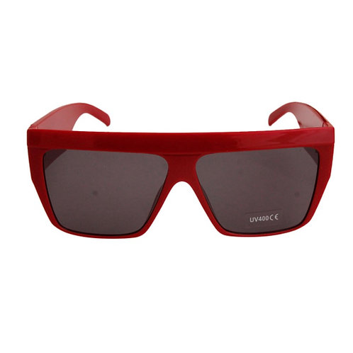 70's Style Red Square Wide Sunglasses
