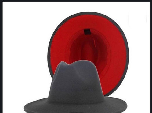 Gray Red Bottom Fedora Hat