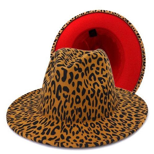 Leopard Red Bottom Fedora Hat