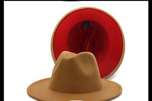 Khaki Red Bottom Fedora