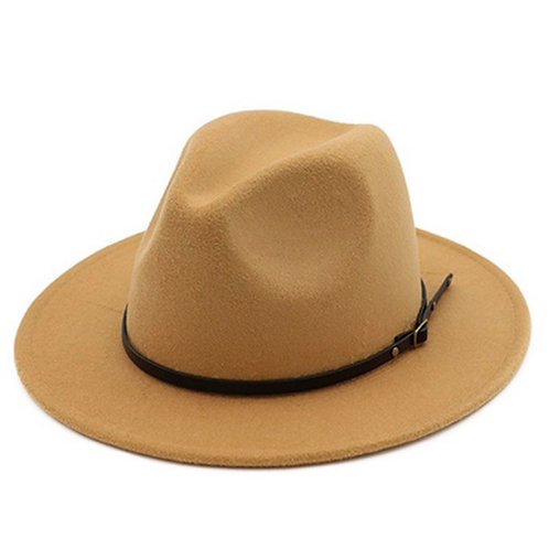 Tan Retro  Flat Brim Panama Wool Felt Jazz Fedora Hat