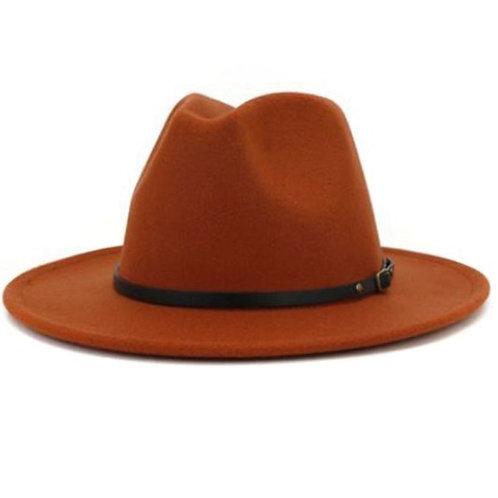 Rust Retro  Flat Brim Panama Wool Felt Jazz Fedora Hat