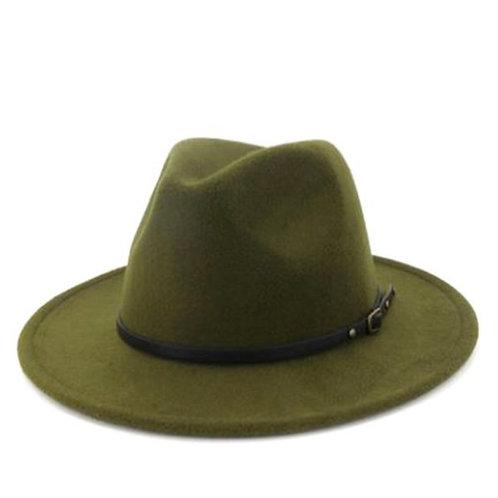 Olive Retro  Flat Brim Panama Wool Felt Jazz Fedora Hat