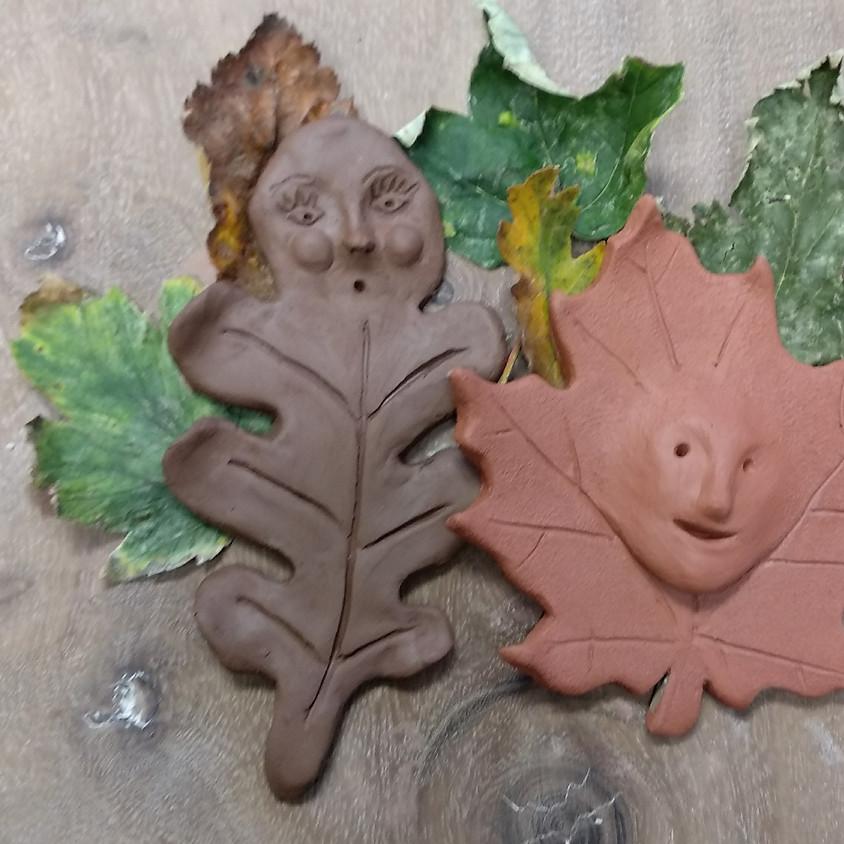 Autumn Leaf Faces, Mini Green Man Home Education Club