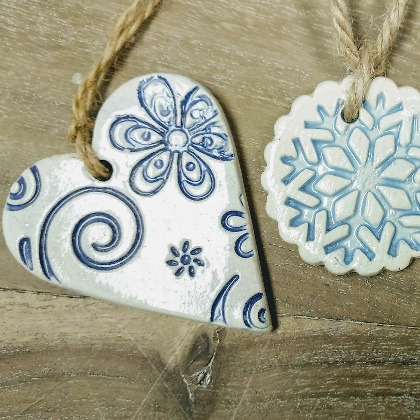Textured Xmas Decorations £18 Extra session