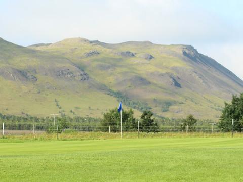 Iceland - Mosfellsbaer Golf - Golfklúbbur Mosfellsbæjar - Bakkakot - 7th green - mountain view