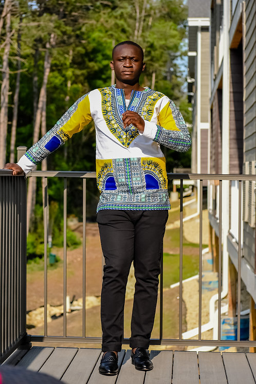 Blue Dashiki Men's Shirt