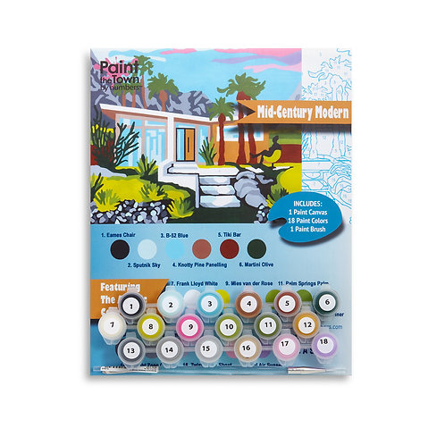 Mid Century Modern Paint by Numbers Kit