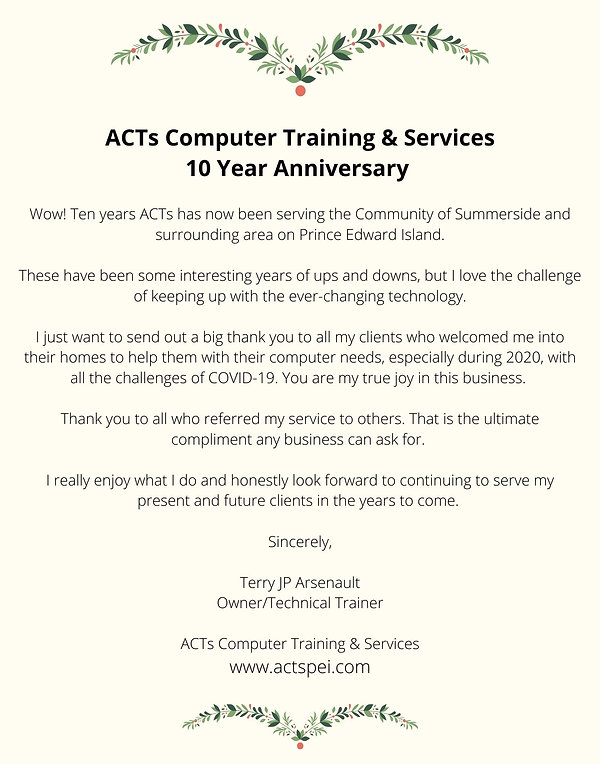 ACTs Computer Training & Services 10 Yea