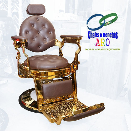 Gold Barber Chairs with  DARK BROWN color Italian Leather