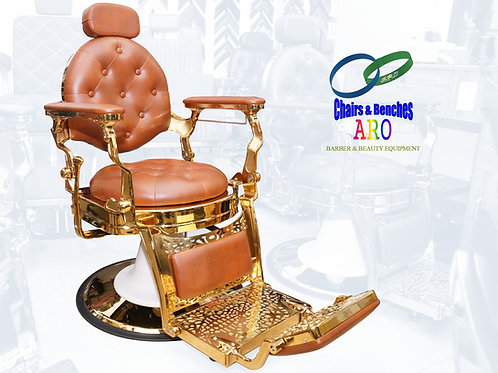 Gold Barber Chairs with BROWN color Italian Leather