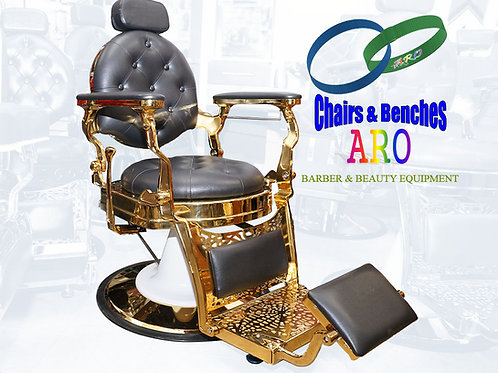 Gold Barber Chairs with Black color Italian Leather