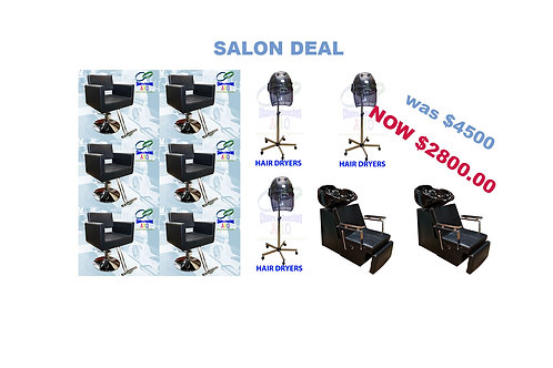 6 Styling Chairs, 3 Hair Dryer, 2 Shampoo units