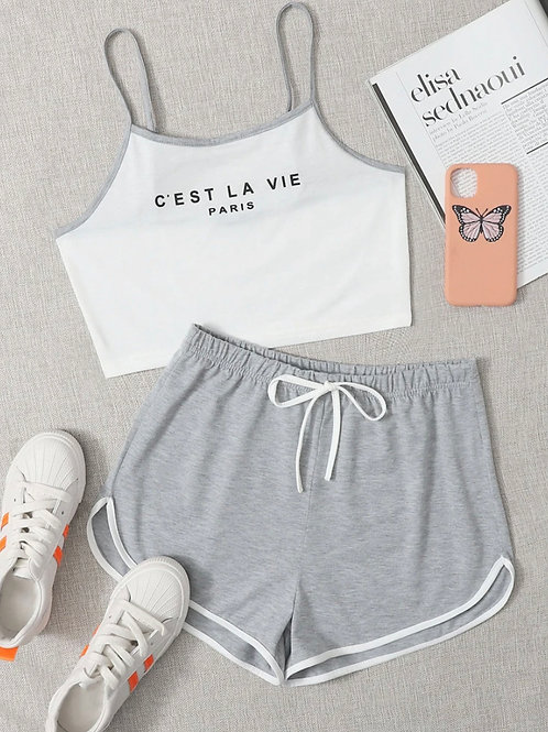 Graphic Top w/ Track shorts set
