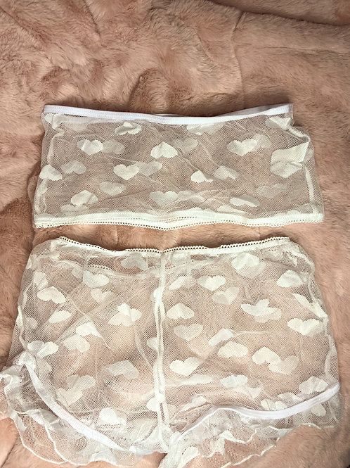 White Sexy Lace Heart Lingerie