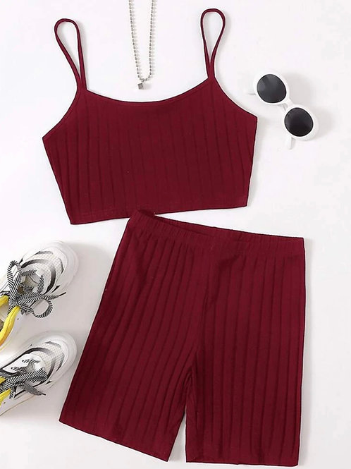 Deep Red Shorts Set