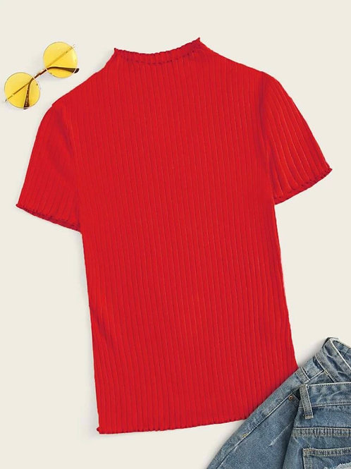 Red Edge Rib-knit Tee