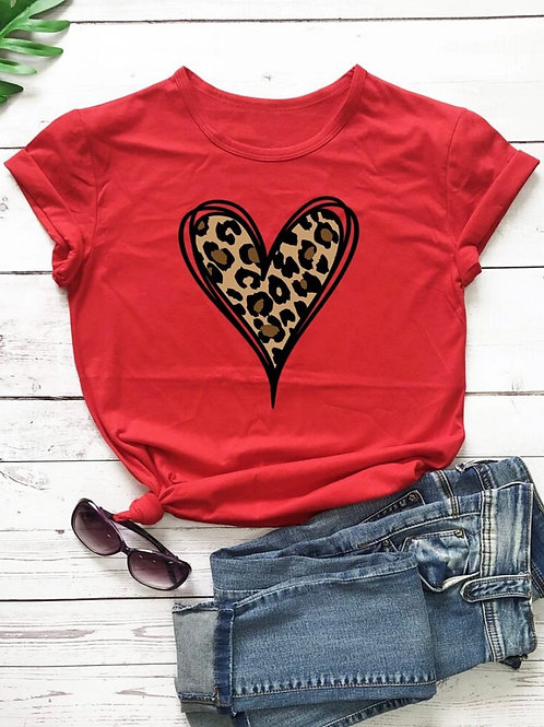 Leopard And Heart Print Tee