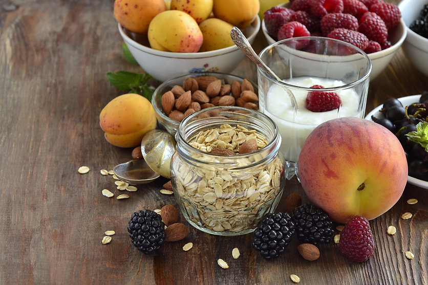 Cereals, almonds and various berries for