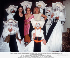 The LA Sisters at the Christmas fundraiser show for the Trevor Project with Delta Burke, Gillian Anderson & Terri Garr